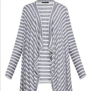Bcbg Angela wrap gray and white stripe